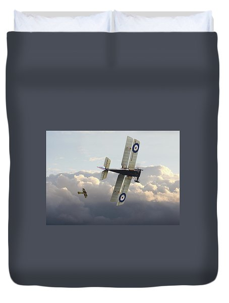 Duvet Cover featuring the digital art Stalked - Se5 And Albatros Dlll by Pat Speirs
