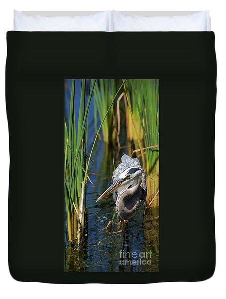 Duvet Cover featuring the photograph Stalking The Fish by Pamela Blizzard