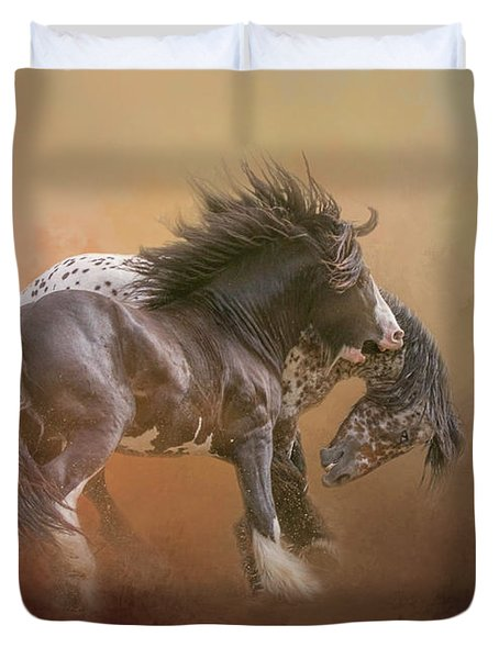 Duvet Cover featuring the digital art Stallion Play by Nicole Wilde