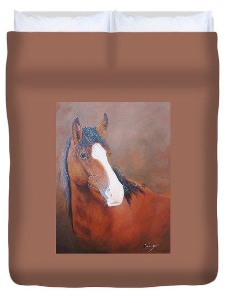 Stallion Portrait Duvet Cover by Jean Yves Crispo