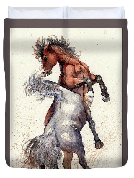 Duvet Cover featuring the painting Stallion Showdown by Margaret Stockdale