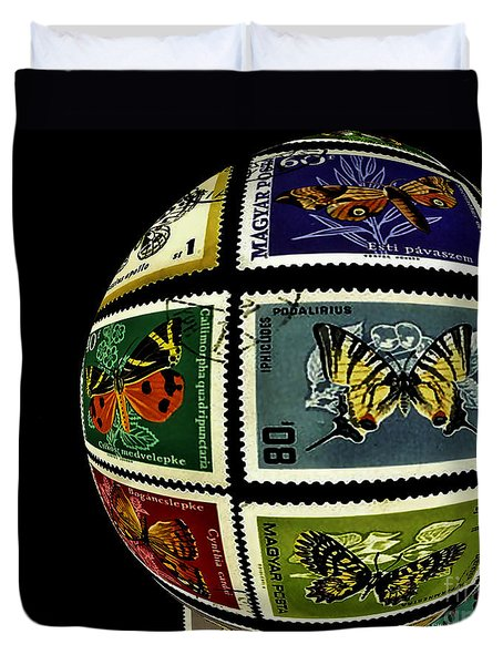 Stamp Collecting Around The World Duvet Cover by Carol F Austin