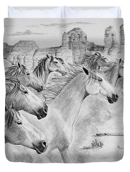 Stampede In Sedona Duvet Cover by Joette Snyder