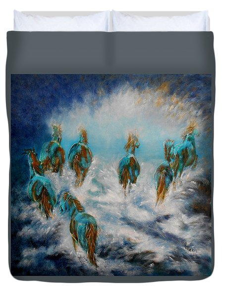 Stampede To Heaven Duvet Cover by Maris Sherwood
