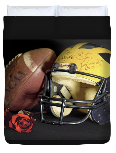 Stan Edwards's Autographed Helmet With Roses Duvet Cover
