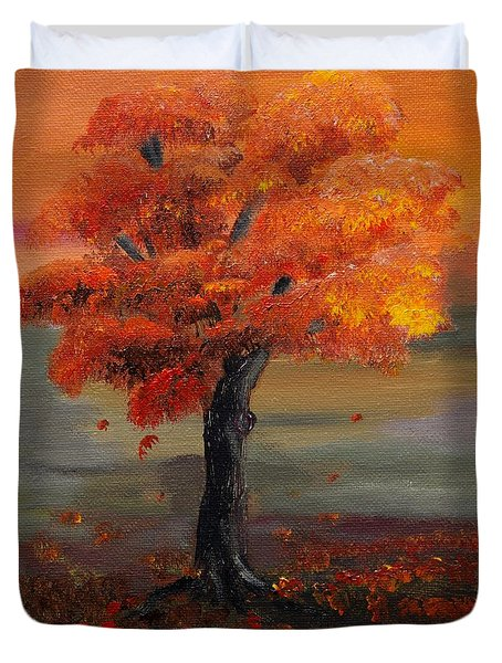 Stand Alone In Color - Autumn - Tree Duvet Cover