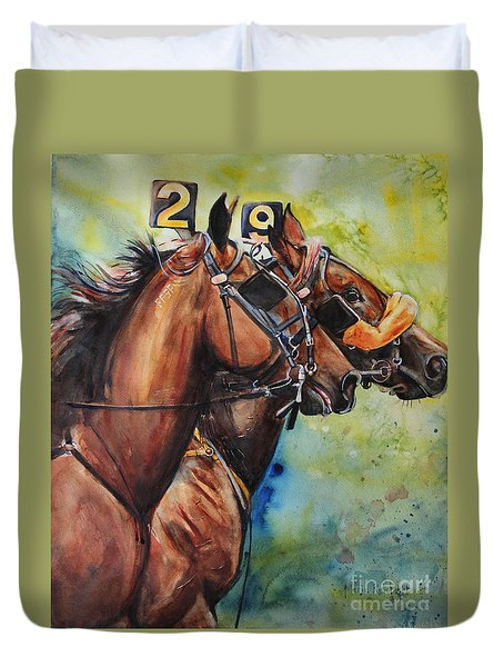 Standardbred Trotter Pacer Painting Duvet Cover by Maria's Watercolor