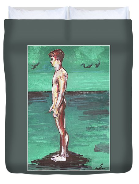 Standig On A Cold Beach With Hesitation  Duvet Cover