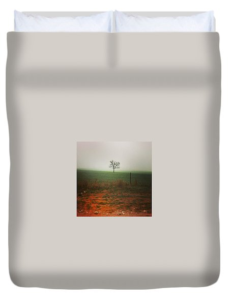 Duvet Cover featuring the photograph Standing Alone, A Lone Tree In The Fog. by Shelli Fitzpatrick