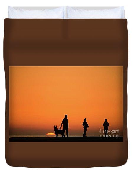 Standing At Sunset Duvet Cover