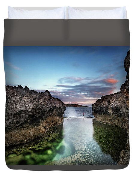 Duvet Cover featuring the photograph Standing At The Tip Of Sea by Pradeep Raja Prints