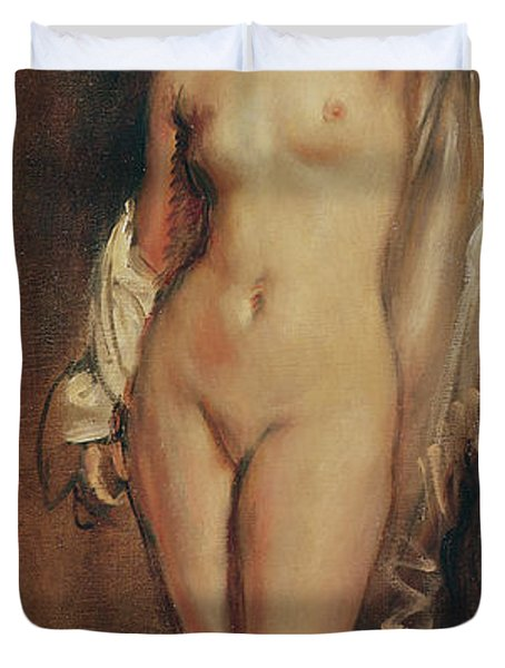 Standing Female Nude Duvet Cover by Theodore Chasseriau