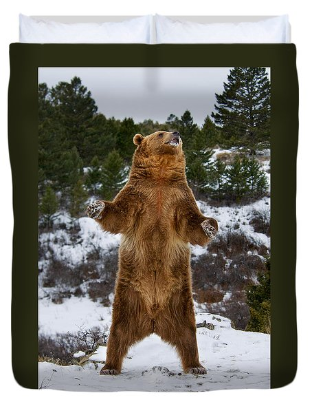Standing Grizzly Bear Duvet Cover