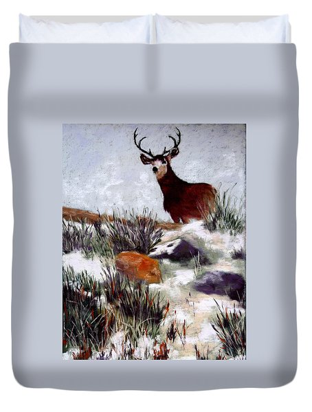 Duvet Cover featuring the painting Standing Guard by Nancy Jolley