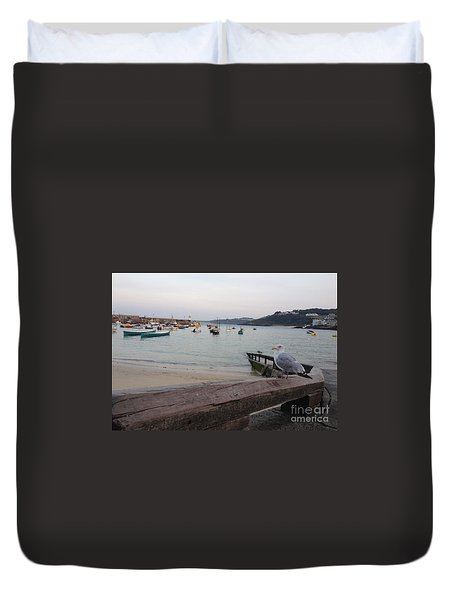 Duvet Cover featuring the painting Standing Guard by Rod Jellison