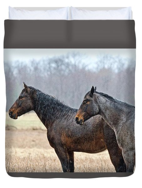 Duvet Cover featuring the photograph Standing In The Rain 1281 by Michael Peychich