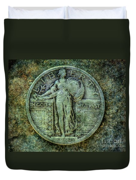 Duvet Cover featuring the digital art Standing Libery Quarter Obverse by Randy Steele