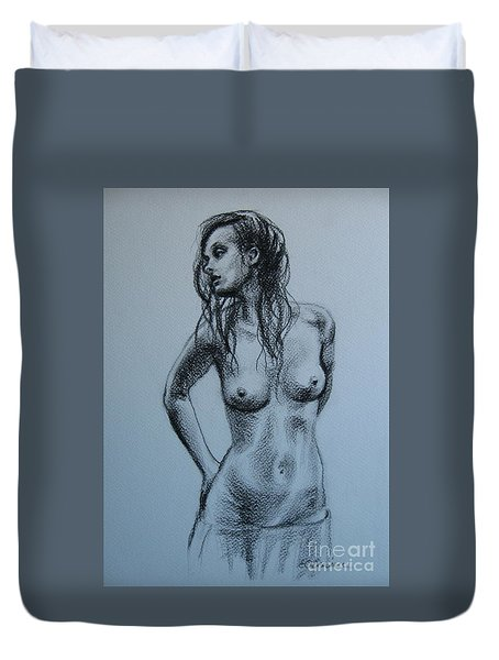Duvet Cover featuring the drawing Standing Nude by Elena Oleniuc