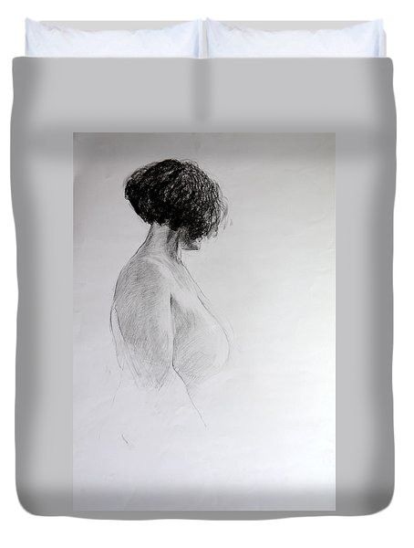 Duvet Cover featuring the drawing Standing Nude by Harry Robertson
