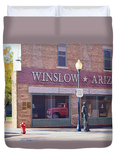 Duvet Cover featuring the photograph Standing On The Corner by AJ Schibig