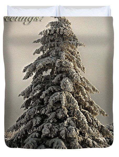 Standing Tall Christmas Card Duvet Cover by Lois Bryan