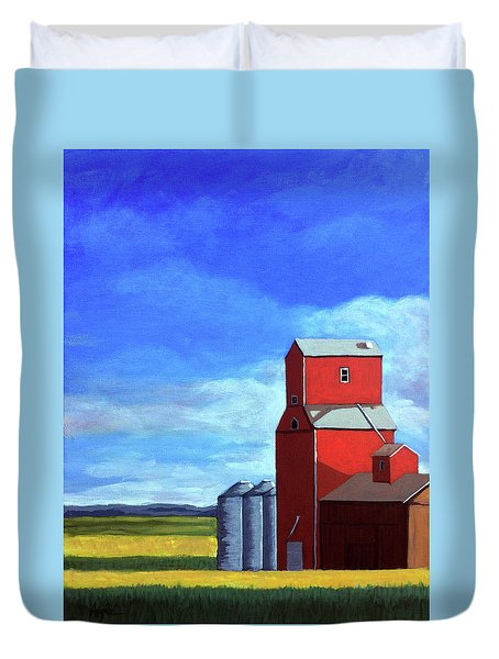Duvet Cover featuring the painting Standing Tall by Linda Apple