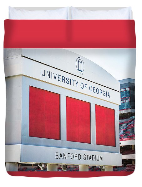 Duvet Cover featuring the photograph Standing Tall Over Sanford Stadium  by Parker Cunningham