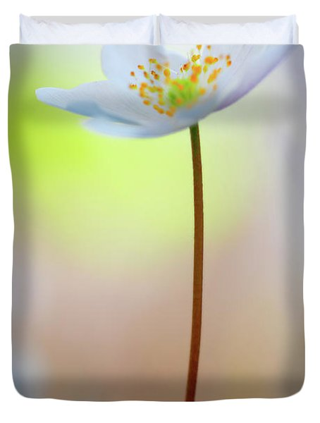 Standing Tall With Pride - Wood Anemone Wild Flower Duvet Cover