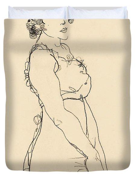 Standing Woman Duvet Cover