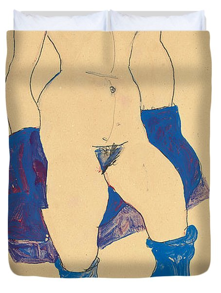 Standing Woman With Shoes And Stockings Duvet Cover by Egon Schiele
