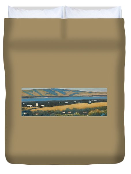 Duvet Cover featuring the painting Stanford By The Bay by Gary Coleman