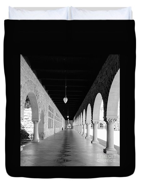 Stanford University Hallway Black And White Duvet Cover