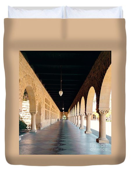 Duvet Cover featuring the photograph Stanford University Hallway by Haleh Mahbod