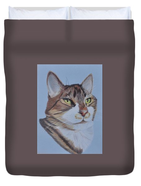 Duvet Cover featuring the drawing Stanley by Jo Baner
