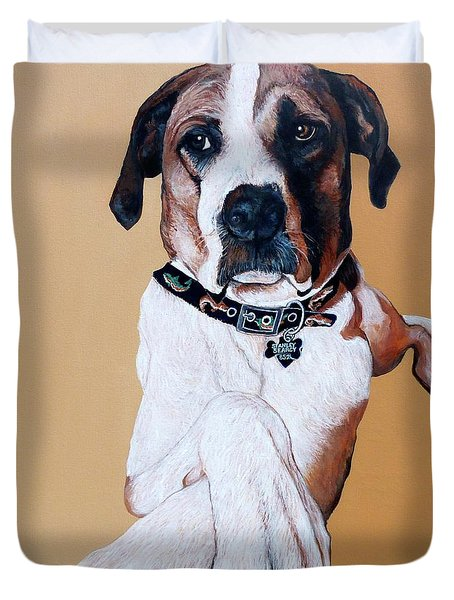 Duvet Cover featuring the painting Stanley by Tom Roderick