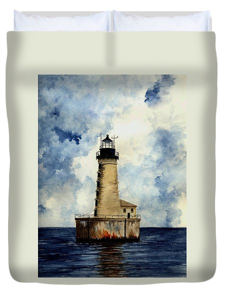 Stannard Rock Lighthouse Duvet Cover by Michael Vigliotti
