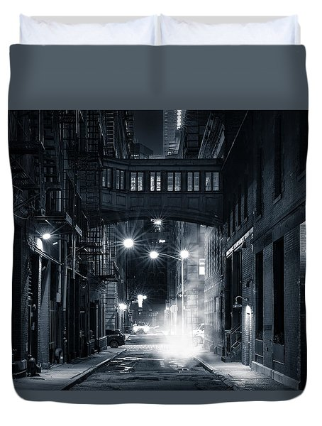 Staple Street Skybridge By Night Duvet Cover by Mihai Andritoiu