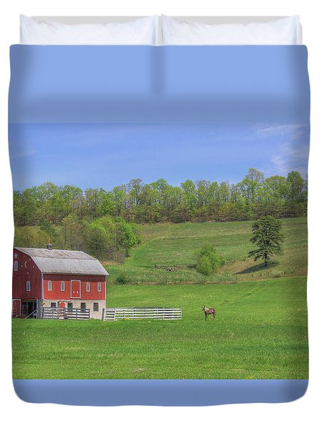 Star And Moon Barn Duvet Cover