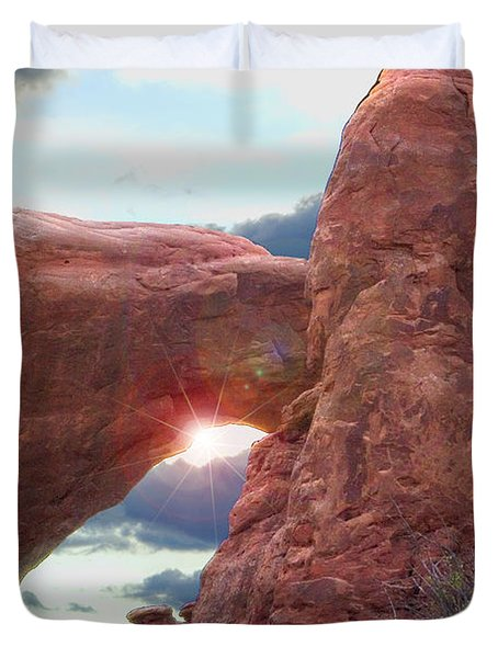 Duvet Cover featuring the digital art Star Arch by Gary Baird