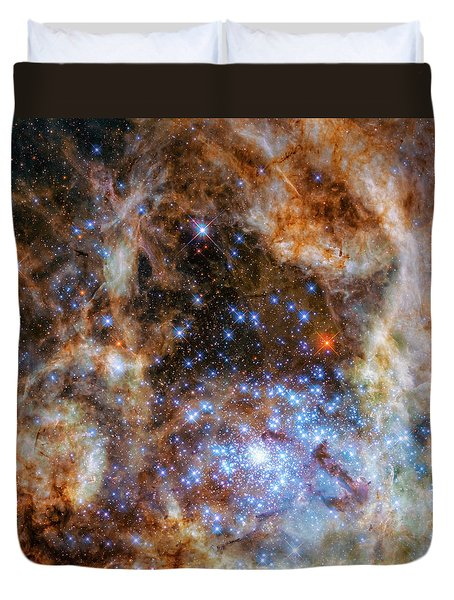 Duvet Cover featuring the photograph Star Cluster R136 by Marco Oliveira