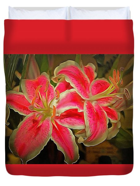 Star Gazer Lilies Duvet Cover