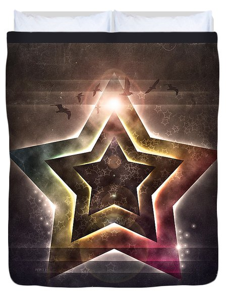 Duvet Cover featuring the digital art Star Lights by Phil Perkins