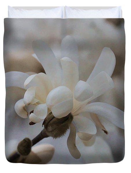 Duvet Cover featuring the photograph Star Magnolia by Cathy Donohoue
