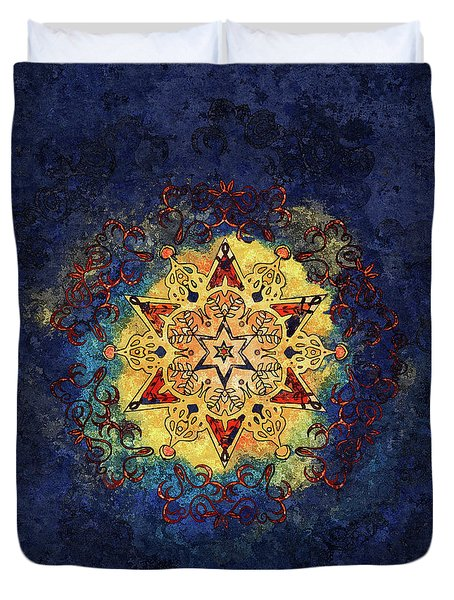 Star Shine Blue And Gold Duvet Cover