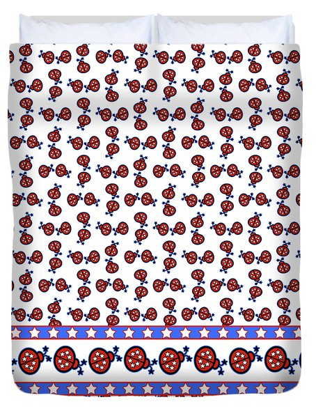 Duvet Cover featuring the digital art Star-spangled Lady Bugs by Methune Hively