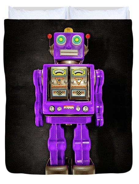 Star Strider Robot Purple On Black Duvet Cover by YoPedro
