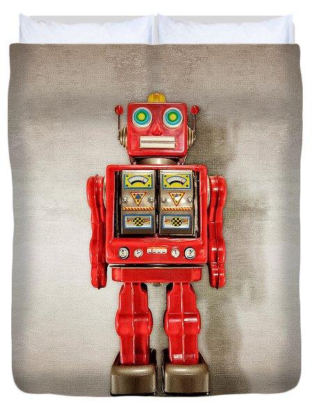 Star Strider Robot Red Duvet Cover