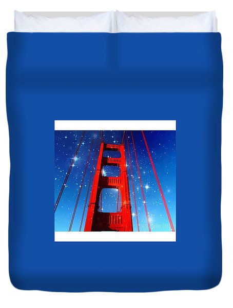Star Time At The Golden Gate Bridge Duvet Cover by Eugene Evon