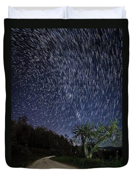 Duvet Cover featuring the photograph Star Trail Over The Blue Ridge by Serge Skiba