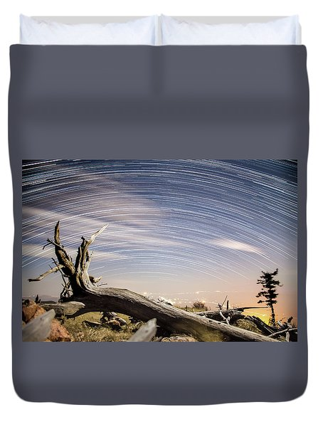 Star Trails By Fort Grant Duvet Cover